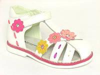 Детские ортопедические кожаные босоножки Шалунишка р.25 стелька 16см девочкам белые в цветы