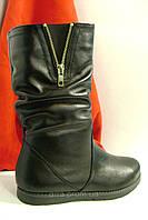 Кожаные ботинки на ровной подошве., фото 1