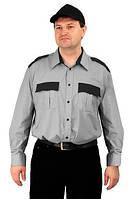 Рубашка охранника форменная серая с черными вставками