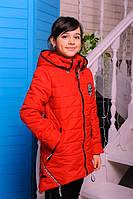 Демисезонная удлиненная куртка Камила для девочки  красная