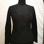 Полувер нарядный черный вязанный букле со стразами и декольте распродажа, фото 3