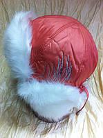 Шапка - ушанка для девочек цвет персик с белым мехом размер 54-56