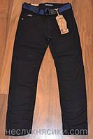 Детские брюки коттоновые на мальчика (утепленные) черные 134,140,146,152,158,164р.