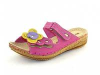 Детские ортопедические кожаные сандалии для девочек Инблу малиновые р.29