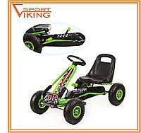Карт детский железный, педальная машина, надувные колеса (зеленый)