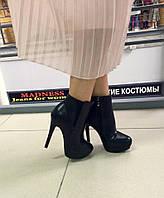 Элегантные женские ботильоны искусств. кожа, вставка резинка, на высоком каблуку. Цвет черный