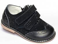 Детские кожаные ортопедические туфли для девочек р.24 черные на липучках