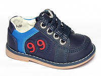 Детские кожаные нубук ортопедические туфли Шалунишка-ортопед р.20,21 для мальчиков темно-синие