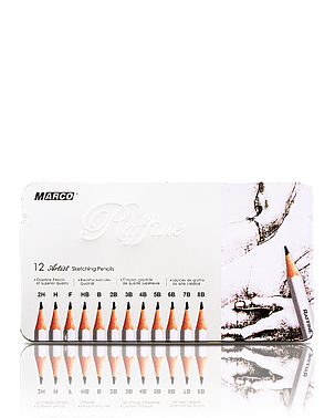 """Карандаши графитные """"MARCO"""" Raffine в металлическом пенале (12 шт., от 2H - до 8В), фото 2"""