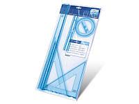 Набор линеек F1-032 пластик (2 треугольника+2 линейки 20, 50 см.+транспортир)