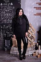 Стильная  чёрная женская рубашка с 52 по 68 размер