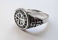 Кольцо серебряное Православное 30291