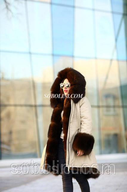 """Парка зимняя с мехом финского песца, цвет под соболя, верх бежевого цвета """"Sharon"""""""