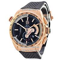 Часы TAG Heuer Grand Carrera Gold/Black (Кварц). Класс: AAA.
