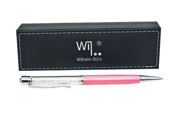 Ручка шариковая Wilhelm Buro WB107 поворотная, розовая (в подарочном футляре)