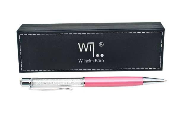 Ручка шариковая Wilhelm Buro WB107 поворотная, розовая (в подарочном футляре), фото 2