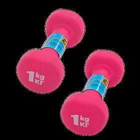 Неопреновые гантели 1 кг (пара), розовые