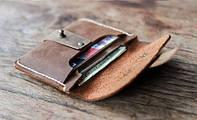 """Шкіряний гаманець """"Roll up"""" ручної роботи, натуральна шкіра, на кнопці, фото 1"""
