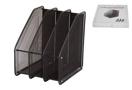Лоток для бумаги вертикальный 3 секции, металл.сетка, черный 307-C, фото 2