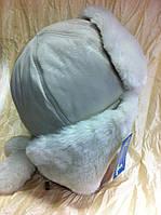 Стильная шапка - ушанка для девочек цвет бежевый с белым мехом