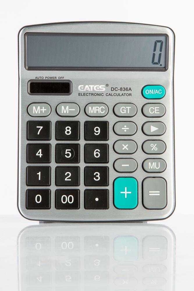 """Настольный калькулятор """"EATES"""" DC-836A (12 разрядный, 2 питания)"""