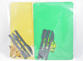 "Доска для пластилина ""Люкс Колор"" ДПК-1 (235*160 мм.)+стеки+набор из 2-х картонных аппликаций"