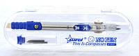 Циркуль металлический JF-8007 с колпачком и ластиком