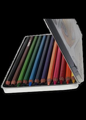 "Карандаши цветные 12 цветов ""MARCO"" ColorCore Hex в металлическом пенале 3100-12TN, фото 2"