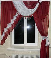 Ламбрекен №27а на карниз 1.5м. с шторкой. Цвет бордовый с белым