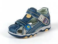 Босоножки детские кожаные с ортопедической стелькой Clibee р.26,30 сине-желтые
