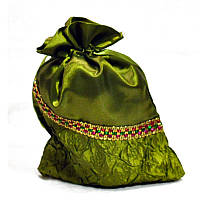 Мешочек из шелка с бисером и жаткой (14*21 см.)