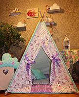 """Детский игровой домик, вигвам, палатка, шатер, шалаш """"Балерины в мятных звездах"""""""