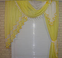 Ламбрекен №27а на карниз 1.5м. с шторкой. Цвет желтый