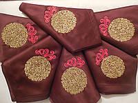 Набор новогодних салфеток с вышивкой ручной работы 6шт.