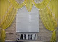 Комплект ламбрекен со шторами на карниз 3м. №28. Цвет желтый