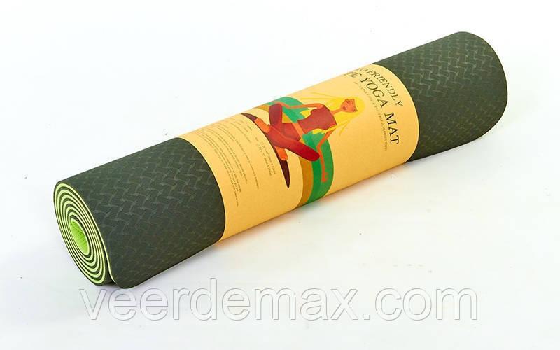 Коврик для йоги и фитнеса Yoga mat 2-х слойный TPE+TC 6mm FI-3046-8 ( 1.83*0.61*6mm) зеленый-салатовый