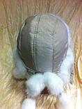 Вушанка для дівчаток колір бежевий з білим хутром, фото 2