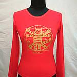 """Красная футболка с длинным рукавом  принт """"Кот Давинчи"""" 44-52плотный трикотаж , фото 8"""