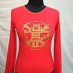 """Красная футболка с длинным рукавом  принт """"Кот Давинчи"""" 44-52плотный трикотаж , фото 7"""