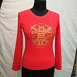 """Красная футболка с длинным рукавом  принт """"Кот Давинчи"""" 44-52плотный трикотаж , фото 4"""