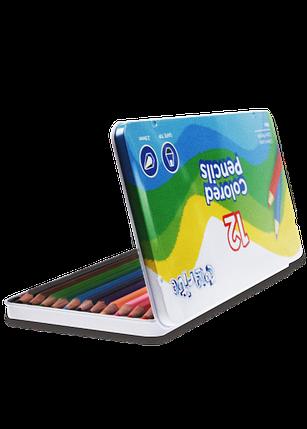 """Карандаши цветные 12 цветов """"MARCO"""" Colorite в металлическом пенале 1100-12TN, фото 2"""