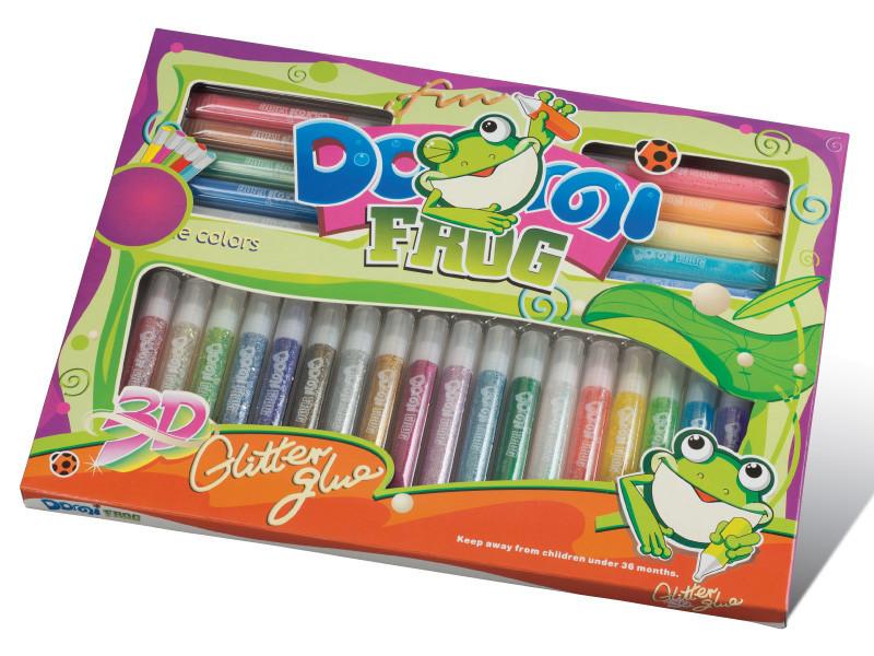 """Клей с блестками на картоне """"Domi Frog"""" (28 цветов, 10.5 мг.)"""
