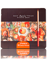 """Карандаши цветные акварельные 24 цвета """"MARCO"""" Renoir в металлическом пенале FineART-24TN"""