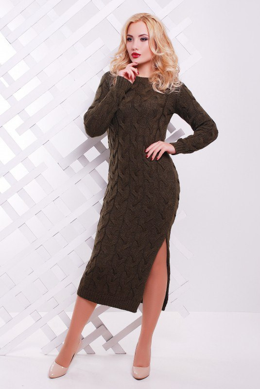 Вязаное платье длинное Косы-Лало р. 42-50