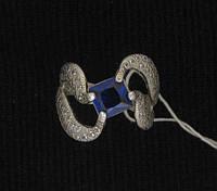 Кольцо серебро 925 проба 17 размер №260 СИНИЙ