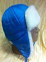 Шапка - ушанка для девочек цвет бежевый с белым мехом
