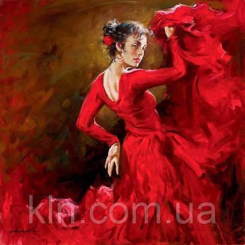 """Алмазная вышивка Танцовщица в красном платье 30 х 30 см (арт. FS408) серия мозаик """"Танец"""""""
