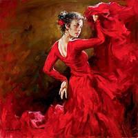 """Алмазная вышивка Танцовщица в красном платье 30 х 40 см (арт. FS408) серия мозаик """"Танец"""""""