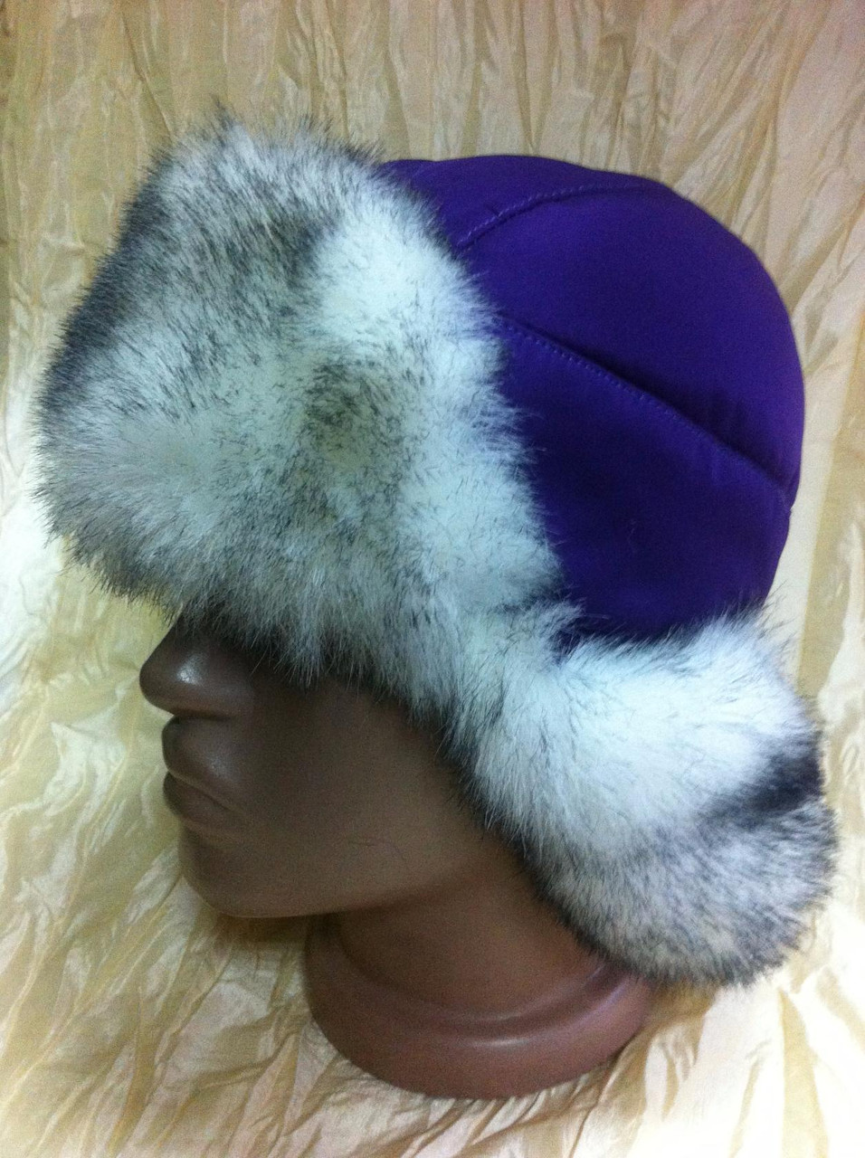 Фиолетовая шапка -ушанка для девочек