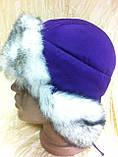 Фиолетовая шапка -ушанка для девочек , фото 2